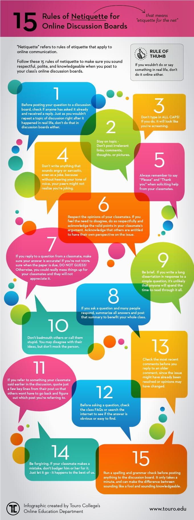 Netiquette Online Discussion Boards infographic